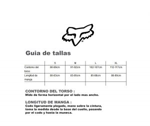 guia de tallas fox head