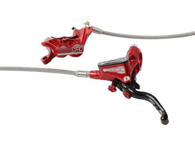 Frenos HOPE TECH 3 V4 Latiguillo Metalico Rojo