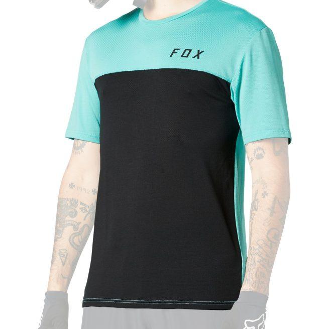 Camiseta Técnica FOX Flexair Delta SS Negro/Turquesa